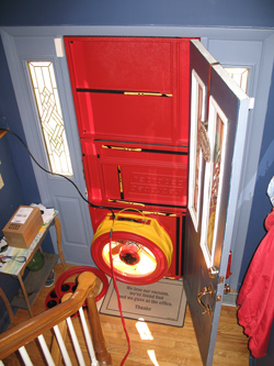Blower door test for Sioux City homes